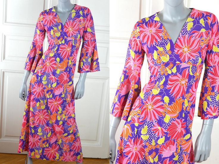 1970s British Vintage Floral Dress, Pink Purple Red Yellow Orange Flower Child Maxi Dress, European Summer Dress: Size 8 US, Size 12 UK by YouLookAmazing on Etsy