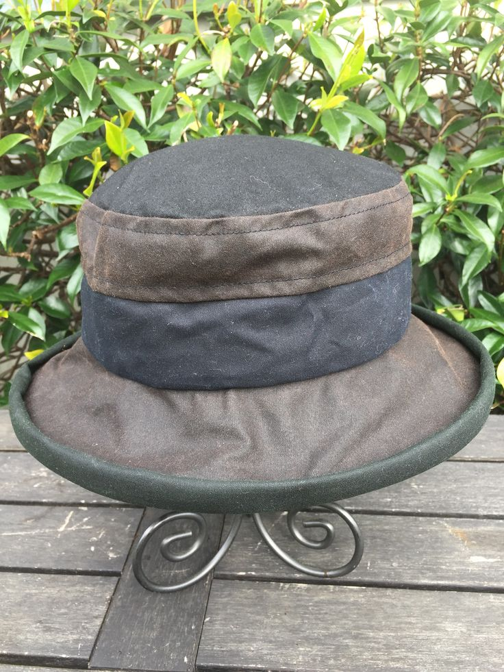 Oilskin Hat  Buy now | Lynsey Champion Hats  Waxed Cotton Waterproof womens hat  Adjustable size