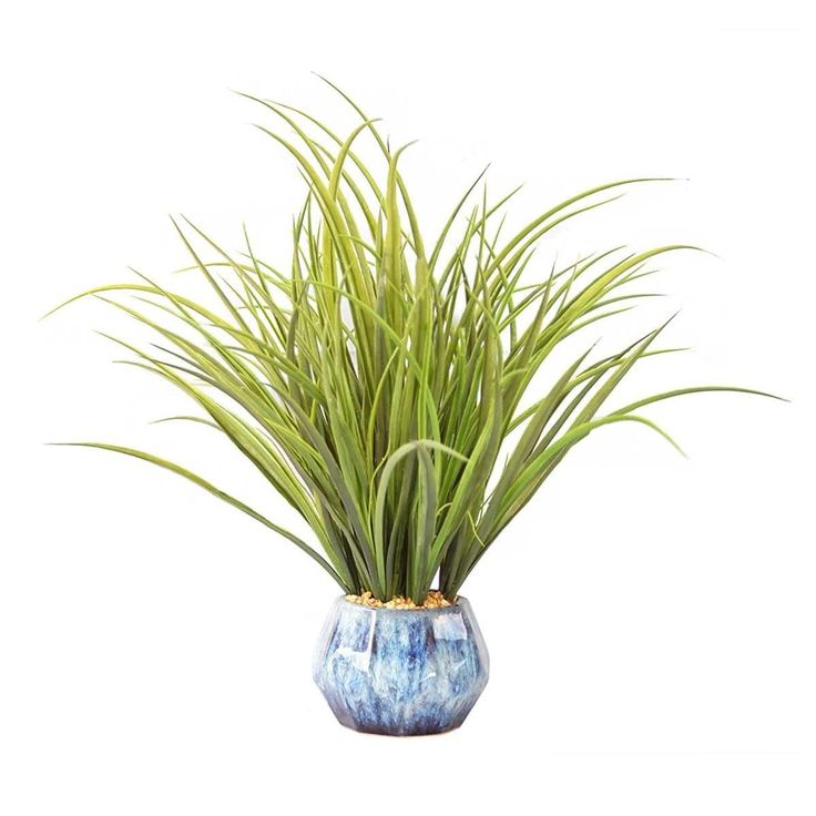 """Vintage Home Plastic grass and onion grass in ceramic pot 22x22x36""""H"""
