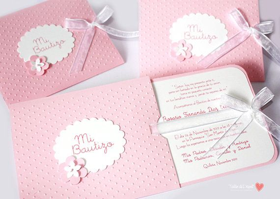 """Pink Beautiful Invitations for Baptism or Babyshower for acute and delicate girl / """"Two in One"""" on Etsy, $29.00"""
