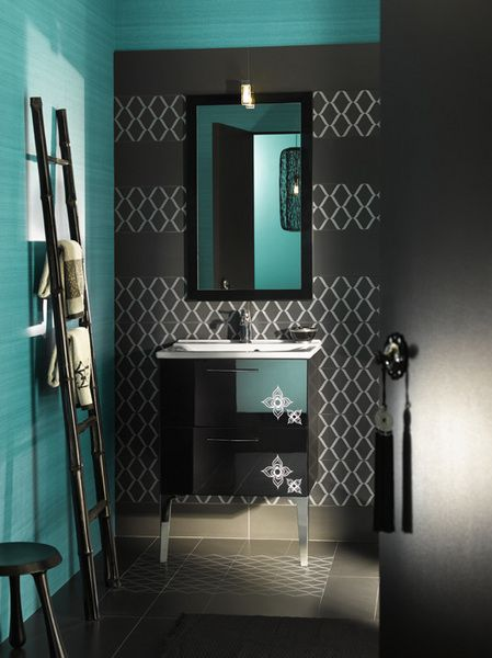 Bathroom envy, although the colors would be too dark for such a small space (my bathrooms are small and windowless)