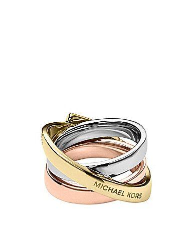 Michael Kors Tri Tone Pave Buckle Ring #Dillards