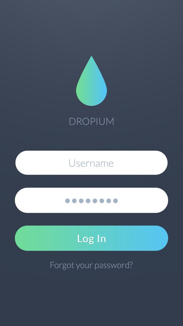 Dropium - iOS7 Login screen by Stan Mayorov