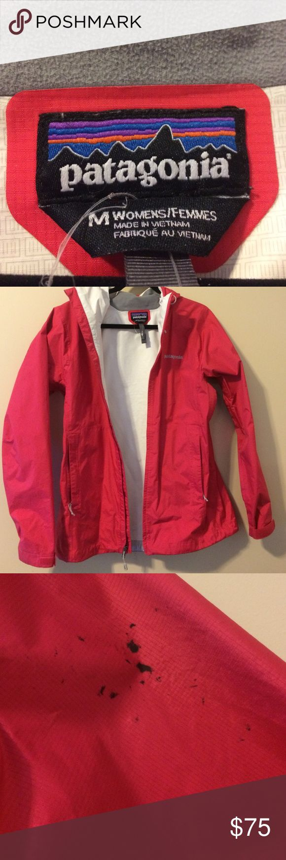 Patagonia 🎉sale🎉 Pink Rain Jacket Pink Patagonia Rain Jacket in great shape other than one stain, pictured above, on the back of the right arm. I have worn this a few times, but I can't seem to zip it on when I am layered up underneath!  Beautiful Rain Jacket other than the one stain. Patagonia Jackets & Coats