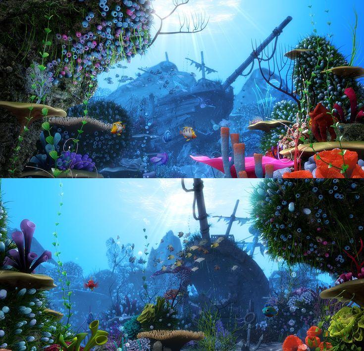 cartoon underwater scene rigged animated 3d model - 518×500