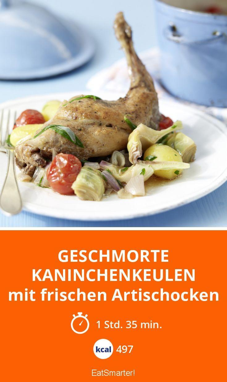 Geschmorte Kaninchenkeulen - mit frischen Artischocken - smarter - Kalorien: 497 Kcal - Zeit: 1 Std. 35 Min. | eatsmarter.de