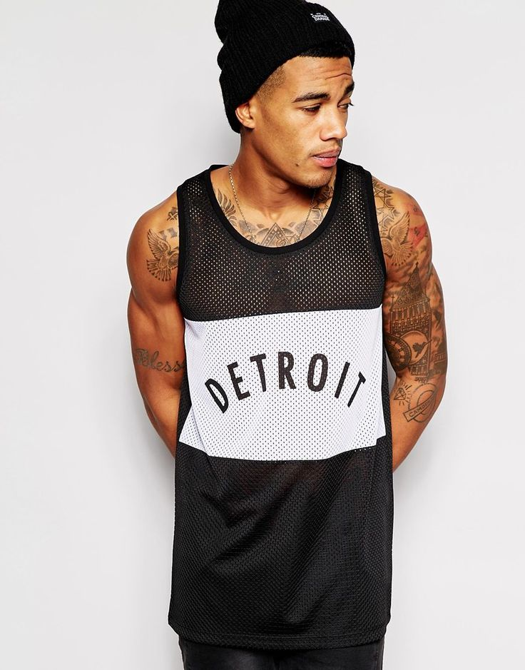 ASOS+Longline+Vest+With+Detroit+Print+Mesh+Panels+And+Skater+Fit