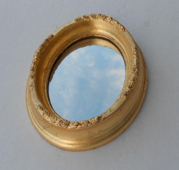 6 x h mirror gold oval wall mirror vintage mirror for Small gold framed mirrors