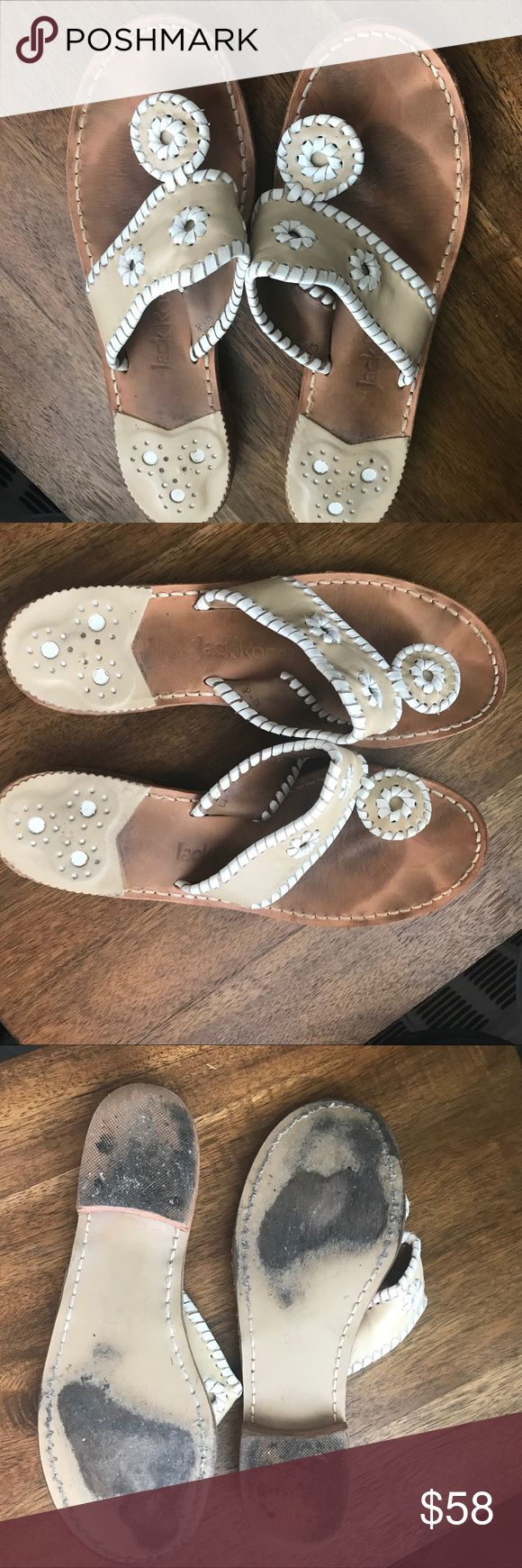 Jack Rogers Palm Beach Sandal Jack Rogers Palm Beach Sandal Bone and white color Some wear - see pics for reference Very good conditoon Jack Rogers Shoes Sandals
