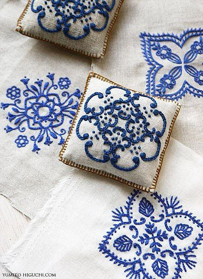 Embroidery. blue tile patterns. love. Looks like i will have to break out the hoop soon.