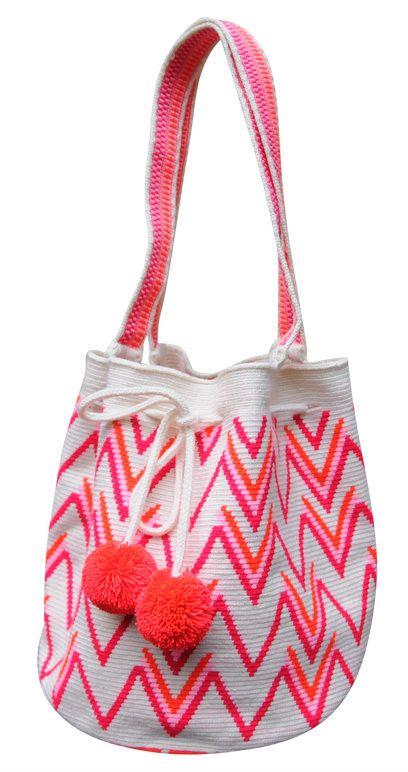 Hot Pink Boho Geometric Purse with Pom Poms // Wayuu Mochila Tote // MARIYA $195
