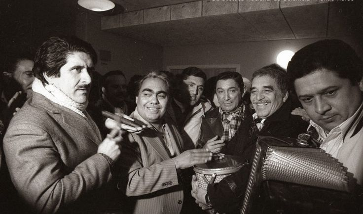 The Colombian folk songs that influenced Gabriel García Márquez's 'magical realism' | PHOTO A parranda (party) with García Márquez holding the Vallenato drum (Caja) played by Pablo Cruz; Emiliano Zuleta (accordion). To the left of GGM is composer Rafael Escalona; and singer Poncho Zuleta Credit: Biblioteca Nacional de Colombia/Fondo Nereo