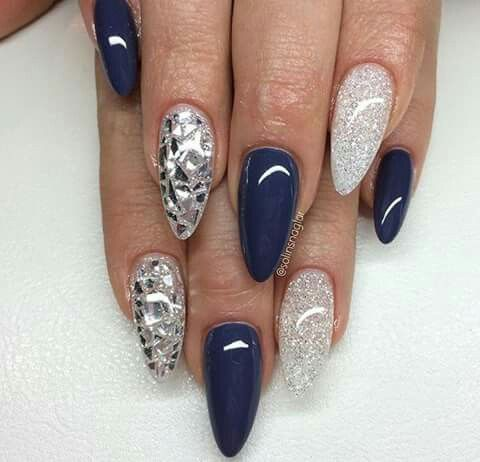 Navy blue and clear and silver mirror nails                                                                                                                                                                                 More