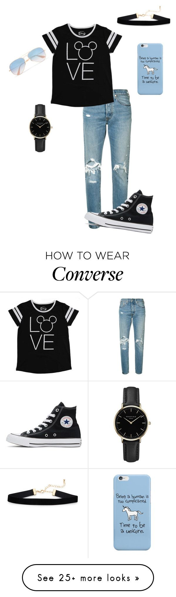 """Untitled #1008"" by crystalrose-014 on Polyvore featuring Levi's, Disney, Converse, ROSEFIELD and Ray-Ban"