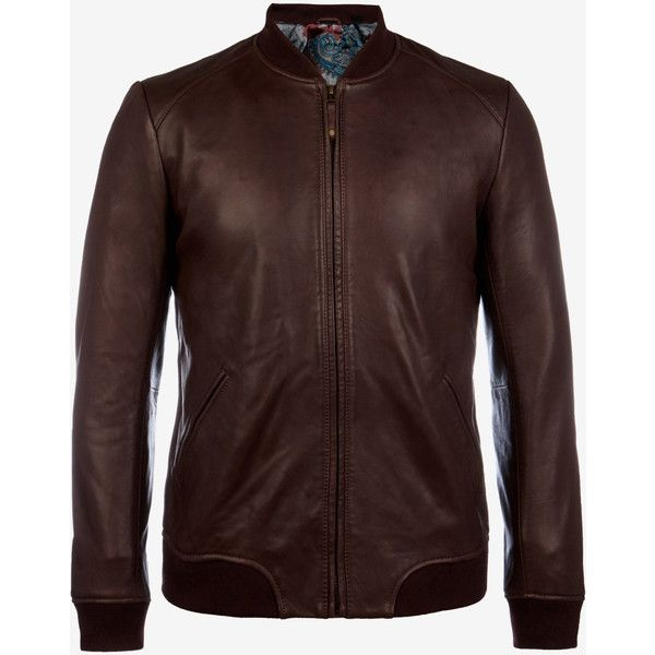 Ted Baker Leather Bomber Jacket Oxblood (1.350 BRL) ❤ liked on Polyvore featuring men's fashion, men's clothing, men's outerwear, men's jackets, oxblood, ted baker mens jacket, mens leather jackets, mens leather bomber jacket, mens leather flight jacket and mens real leather jackets