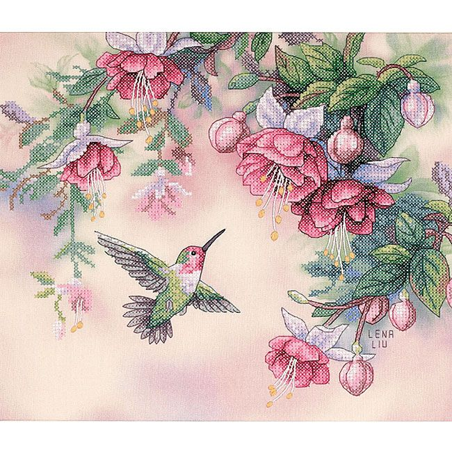 <li>Stamped cross stitch kit includes everything you need for a relaxing craft project<li>Needlework design showcases a hovering hummingbird beneath fuchsia blossoms<li>Makes a fun cross stitch project for beginners or experts