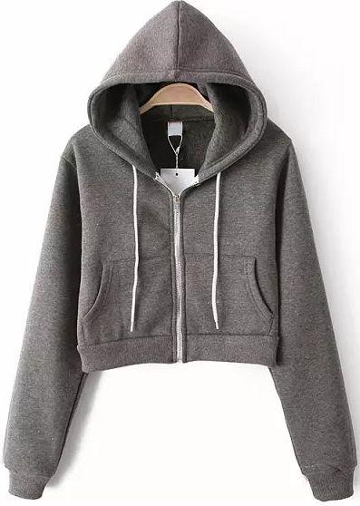 Sudadera Crop con capucha manga larga-gris 19.69                                                                                                                                                                                 Más