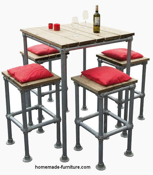 Barstool and table plans for reclaimed wood and scaffolding tubes. Free construction drawings and assembly instructions to make bars stools and matching tables. Build a barstool with reclaimed scaffolding tubes and boards.