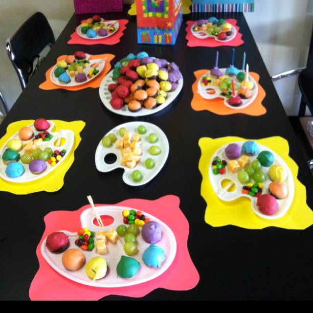 Have an artistic birthday party at a local pottery shop or art studio. Send each guest home with their own creation as a party favor. Serve artist-themed snacks with rainbow sherbet flavors, multicolor candies, grapes, cheese cubes, melon balls, berries, and other colorful morsels.