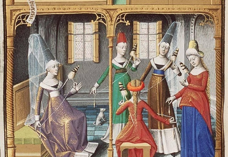 The Hague, MMW, 10 A 11  fol. 69v        Christian customs: a group of women spinning (Virtuousness) 1475
