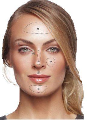 Дневной макияж  Сияющая свежесть вашего лица благодаря дуэту минеральных румян Зоны нанесения: • нижняя точка скулы, • галочка над верхней губой, • спинка носа,  • внутренние уголки глаз и верхнее веко, • лоб и подбородок.