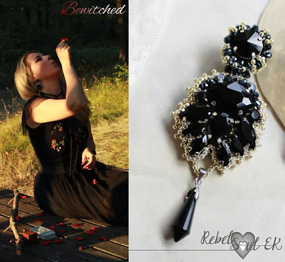 Black Long earrings wicca earrings crystal earrings