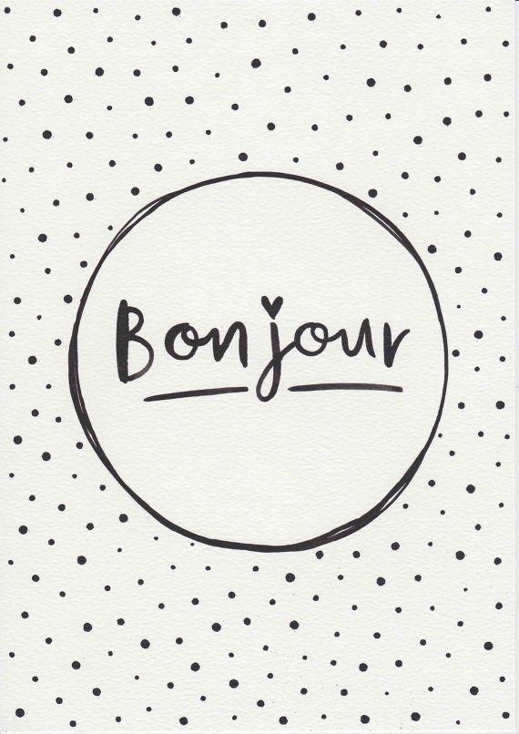 Items similar to Original Painting Typographic Print French Quote Print Minimalist Print Bonjour Typography Gift For Her Black and White on Etsy