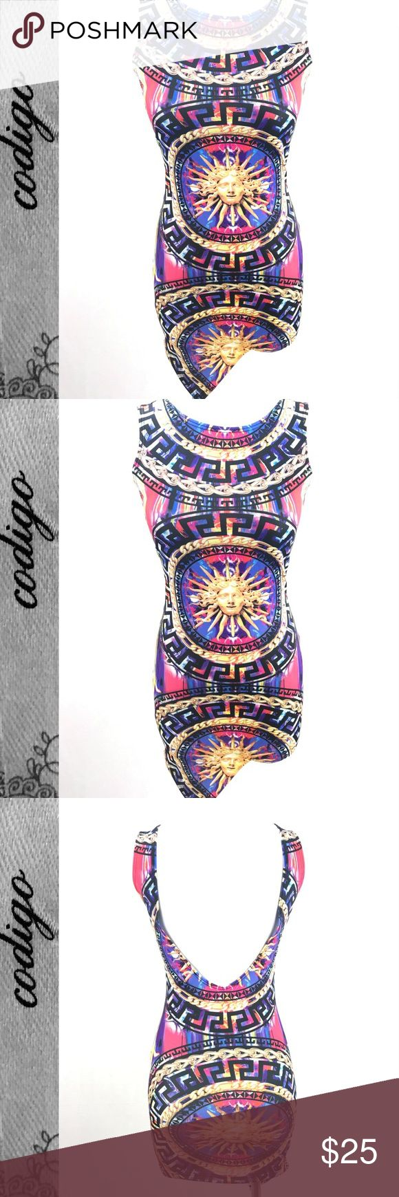 Codigo Greek Key Colorful Mini Dress Small Measurements:  Size: Small Shoulder to shoulder: 11.5 Collar: 8 Bust: 14.5 Waist: 12 Hips: 14 Top to bottom: 25-34 Bottom hem: 14 Material:  90% Polyester 10% Spandex Where it's Made: Made in the US Additional details:  Back is low cut This item is NWT 🌟  Please see all photos and use zoom feature, as they are used as part of item description. All measurements are approx and are in inches taken while laying flat. Check out the rest of my closet and…