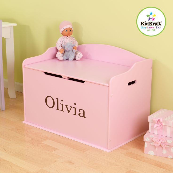 personalized toy box, pink box, tidy up kid, austin toy box kidkraft