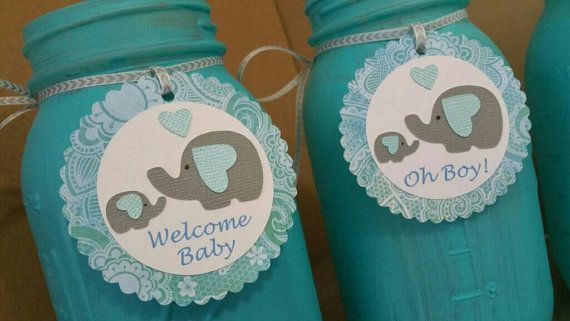 Elefantito bebé ducha centros cuarto de galón o pinta tamaño tarro de masón