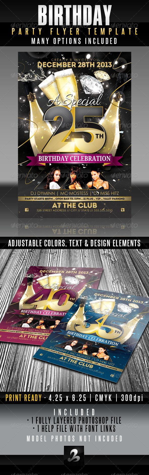 Beautiful Birthday Flyer Ideas On Pinterest How To Create - Birthday invitation template graphicriver