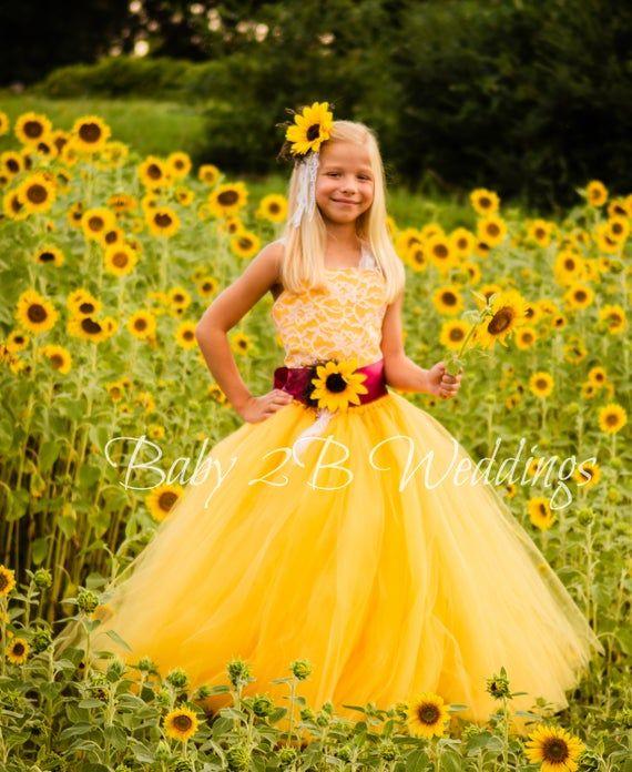 Yellow Sunflower Dress Wine Sash Burgundy Sash Lace Dress Etsy Flower Girl Dress Lace Flower Girl Dresses Girls Dresses,Fitted Satin And Lace Wedding Dress
