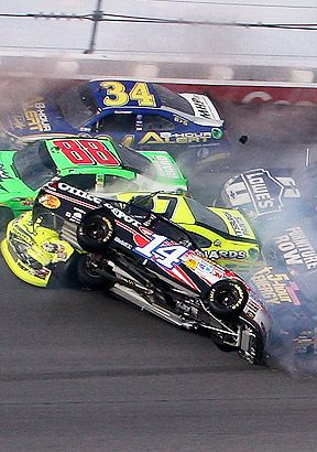 Tony Stewart's wild ride on the last lap of the 2012 Good Sam's Club 500 at Talladega.