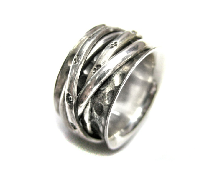 silver thumb rings | Silver Hammered Thumb Ring , Free moving 4 twisted silver rings ...