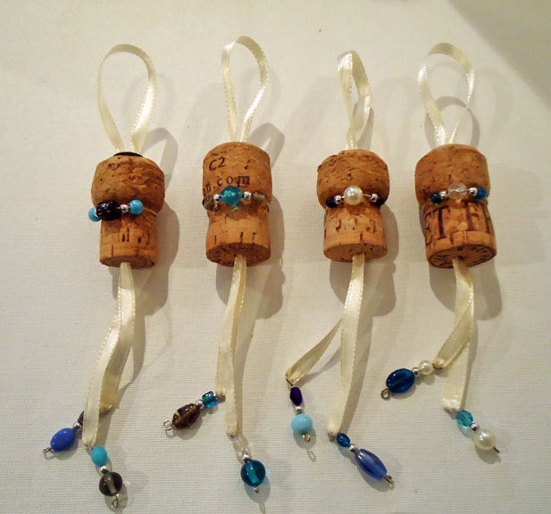 Upcycled Champagne Cork Christmas Ornaments-Blues-set of 4. $8.00, via Etsy.