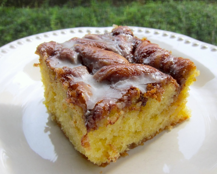 Honey Bun Cake | This cake has all the flavors of a Honey Bun, but it tastes SO much better!  If you love cinnamon, you will love this coffee cake.  This is made with a box of cake mix couldn't be any easier.