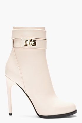 GIVENCHY // BABY PINK LEATHER SHARK LOCK ANKLE BOOTS