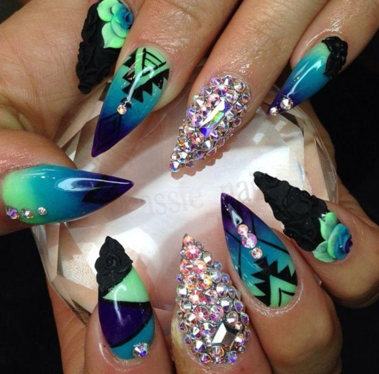 Blue, green, black Aztec stiletto nails