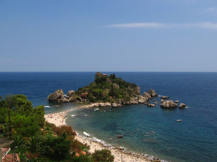 The beach of Isola Bella bellow the town of Taormina is the most famous one of Taormina at all - Sicily, Italy