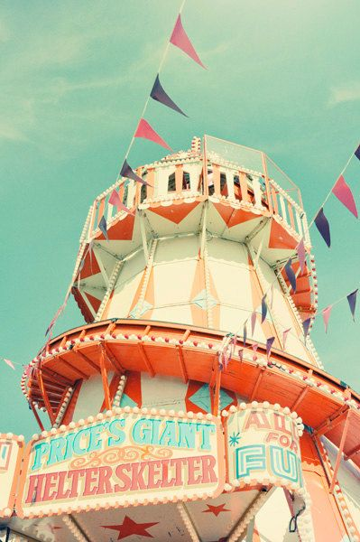 Fairground photography, 11x14, fine art print, green, blue, orange pastel colors, birthday, home decor, bedroom decor
