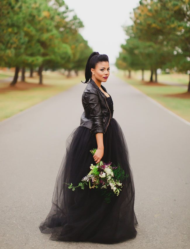 Black tulle wedding dress with a motorcycle jacket!