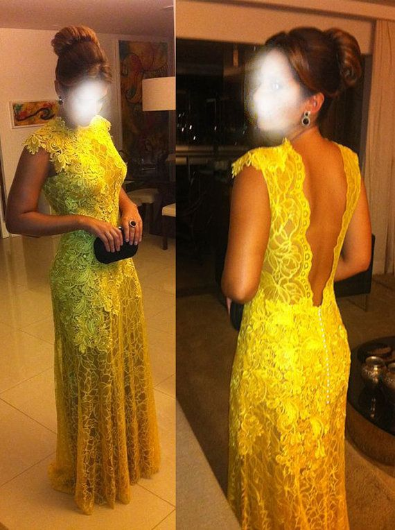 Cheap Lace Prom dress,Lemon Long Prom Dress ,Elegant evening dress,party dress on Etsy, $155.00