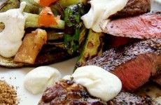 Steak with Grilled Vegetables and Cumin Yoghurt Recipe