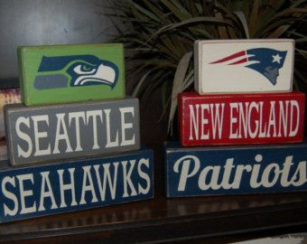 Superbowl 2015 49 Seattle Seahawks New England Patriots Football Teams Primitive Sign Stacking Blocks Distressed Father's Day Birthday