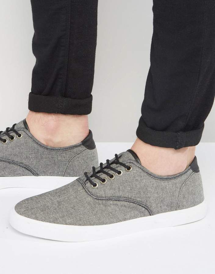 Men Trainers ASOS Plimsolls Chambray With Black Trims