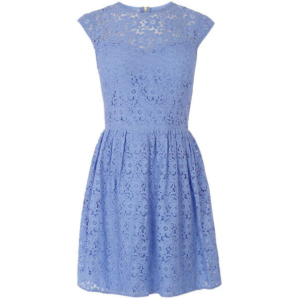 OASIS Lace Skater Dress (£28) ❤ liked on Polyvore featuring dresses, blue, blue summer dress, lacy dress, pastel skater dress, lace dress and oasis dresses