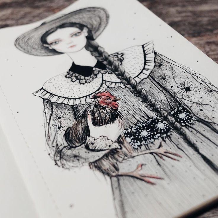 Кто-то видел в ней волшебницу, а тут не простая, но деревенская девушка с 🐓#bambolica_sketch #любимоедело
