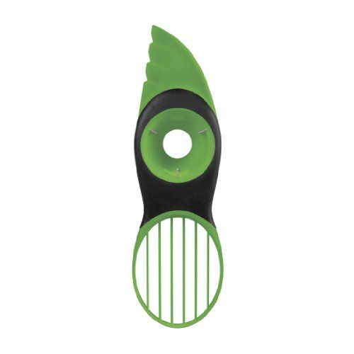 OXO Good Grips Avocado Slicer:  Split, pit, slice and scoop avocados safely and effectively with the OXO Good Grips 3-in-1 Avocado Slicer.  The plastic blade easily cuts through the skin and fruit of the avocado, without being sharp to the touch.  The pitting tool allows you to quickly remove the pit with a simple twist – no more dangerous stabbing or losing fruit while digging it out with a knife or spoon.  Scoop out the rest of this delicious fruit into perfect slices with the simple an...