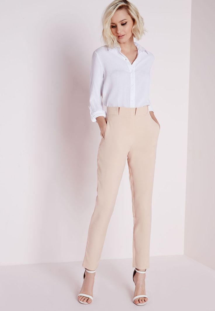 Pleated High Waist Cigarette Trousers Nude