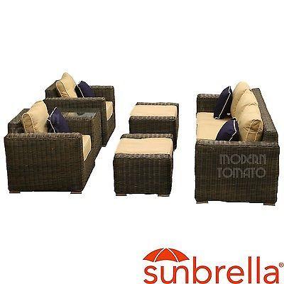 Modern 6 Pcs Luxury Sunbrella Outdoor Wicker Rattan Patio Sofa Furniture G3112O2   eBay